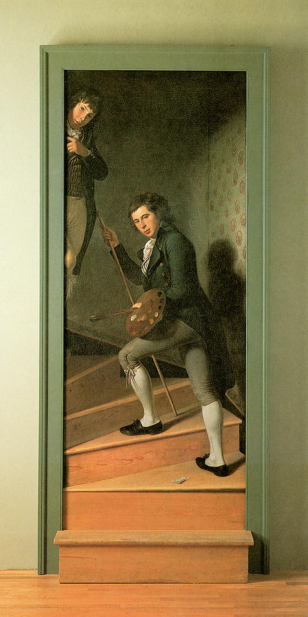 Charles Willson Peale Painting - The Staircase Group by Charles Wilson Peale