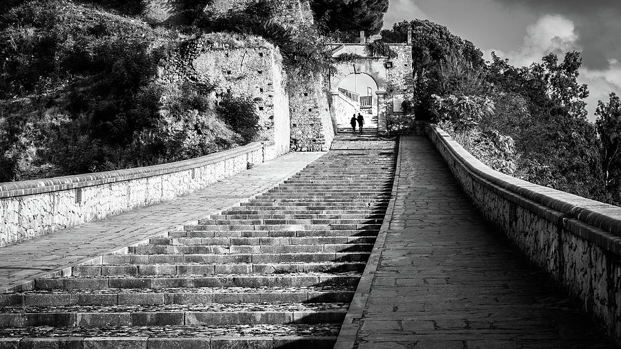 Black Photograph - The Stairs - Paola, Italy - Black And White Street Photography by Giuseppe Milo