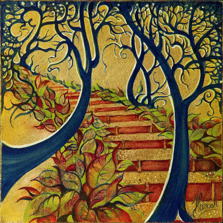 Gold Painting - The Stairs to Now by Anna Ewa Miarczynska