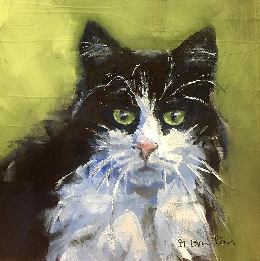 Cat Painting - The Stare by Gary Bruton