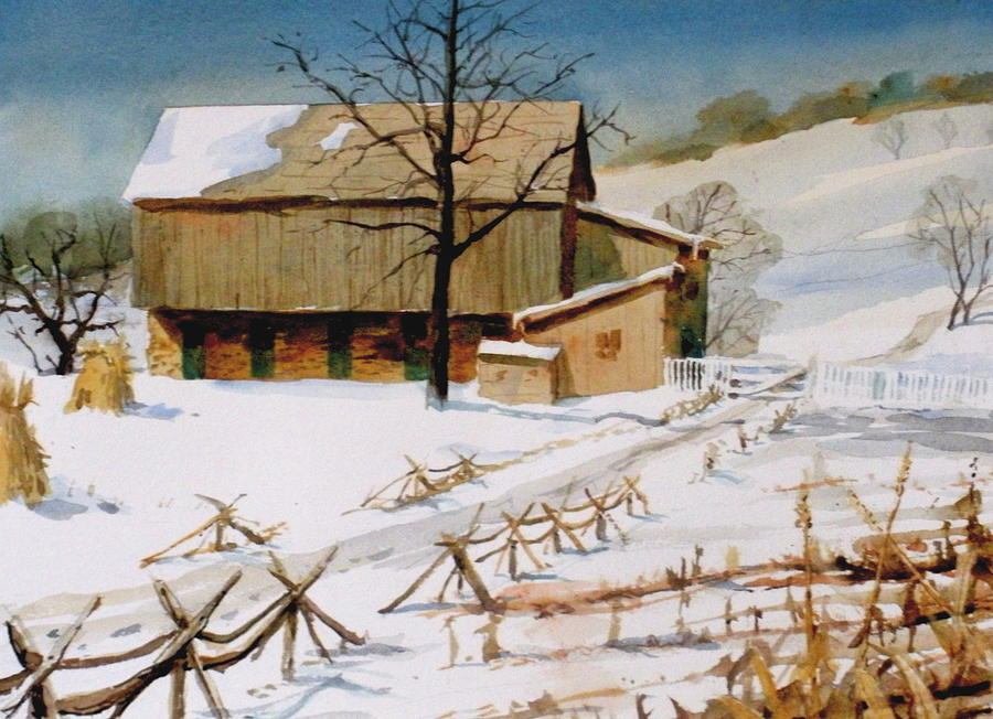 Winter Painting - The Stein Barn by Faye Ziegler