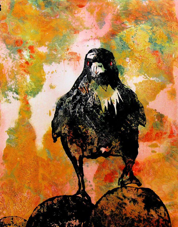Raven Painting - The Stillness Broken by Sandy Applegate