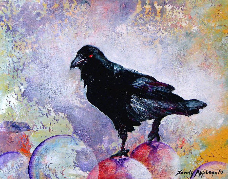 Raven Painting - The Stillness Gave No Token by Sandy Applegate