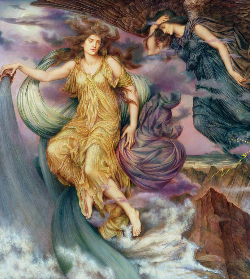 Evelyn Painting - The Storm Spirits-detail-1 by Evelyn De Morgan