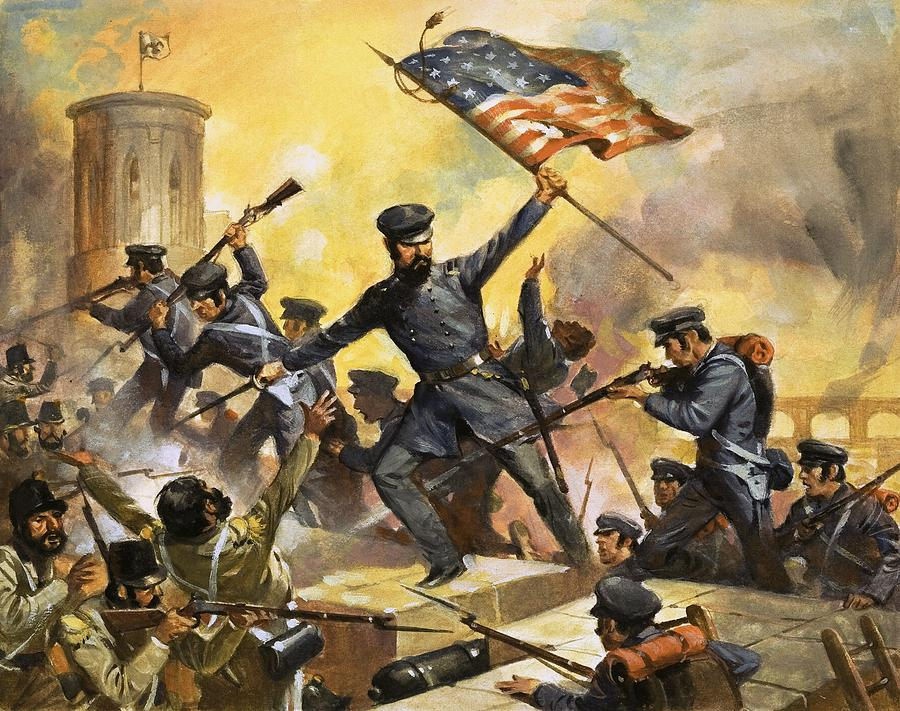 Usa Painting - The Storming Of The Fortress At Chapultec by English School