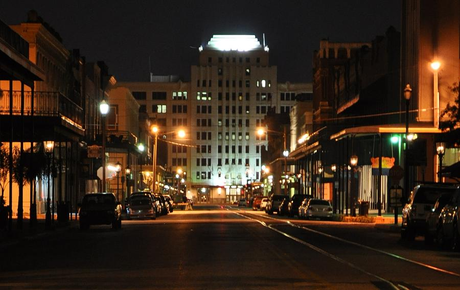Galveston Photograph - The Strand At Night by John Collins