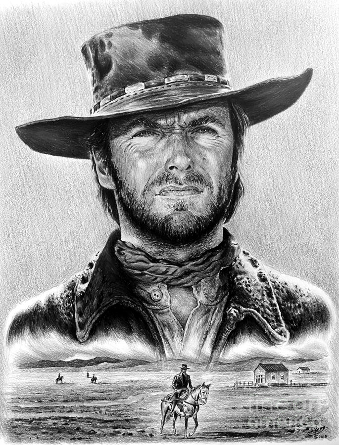 Clint Eastwood Drawing - The Stranger Bw 1 Version by Andrew Read