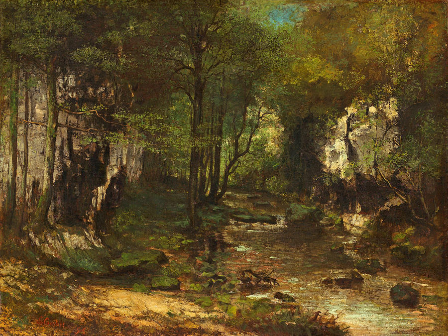 Gustave Courbet Painting - The Stream by Gustave Courbet