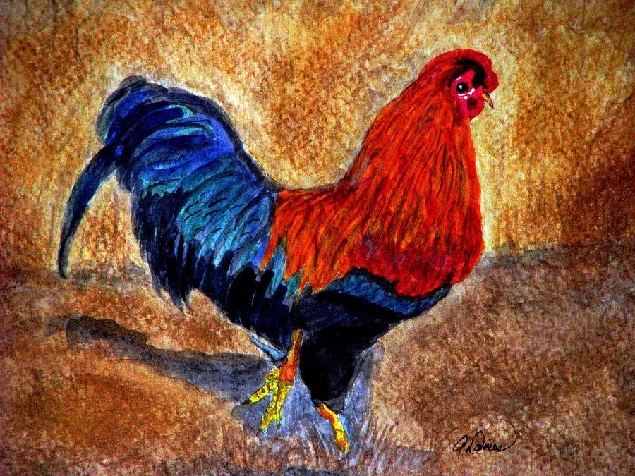 Bantam Rooster Painting - The Strut by Angela Davies
