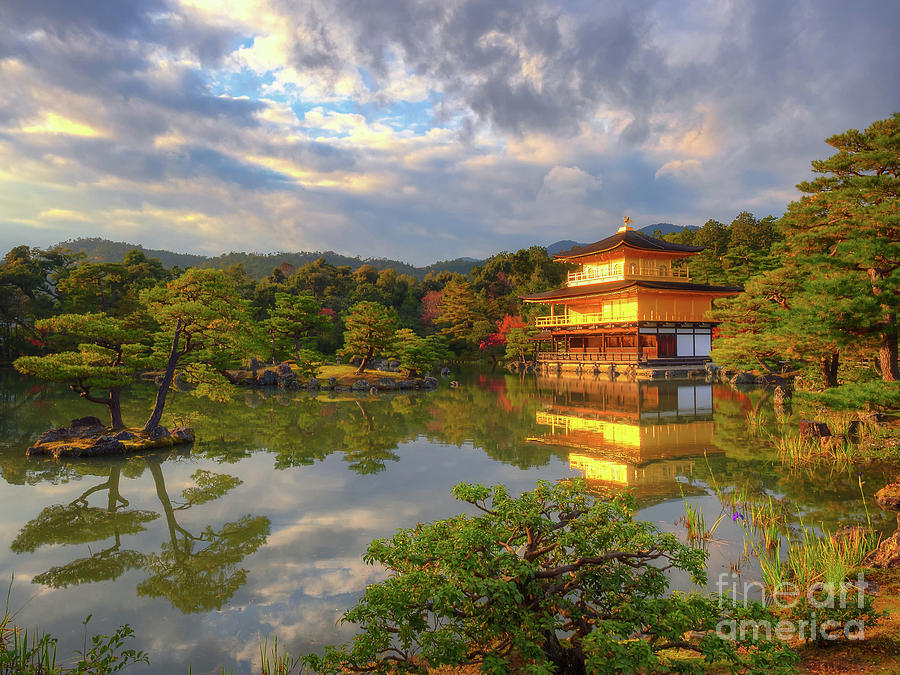 Golden Temple Photograph - The Stunning Golden Temple of Kinkaku-ji that literally floats on a pond, Kyoto, Japan by Mark Carnaby