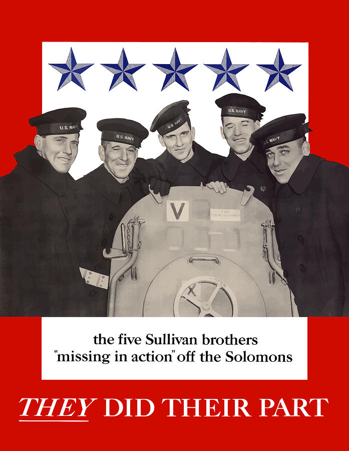 Propaganda Painting - The Sullivan Brothers - They Did Their Part by War Is Hell Store