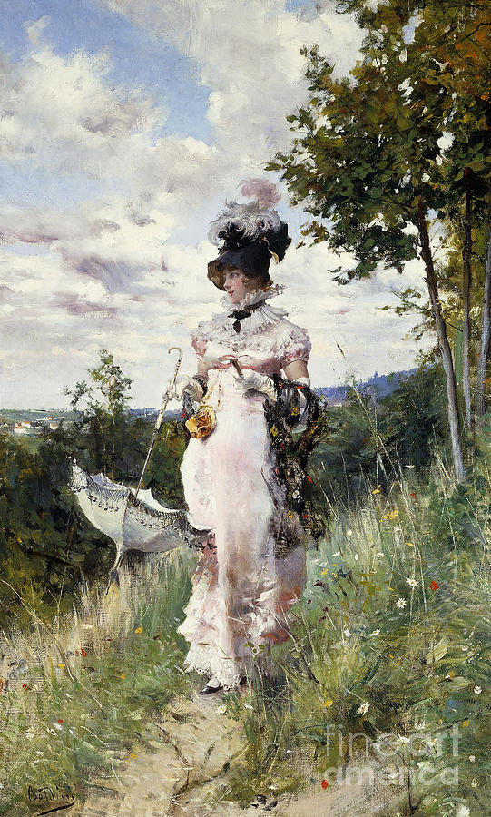 Boldini Painting - The Summer Stroll by Giovanni Boldini