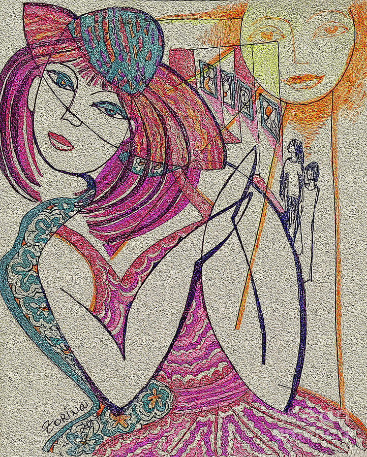 Orange Drawing - The Sun And The Girl by Zorina Kunkina