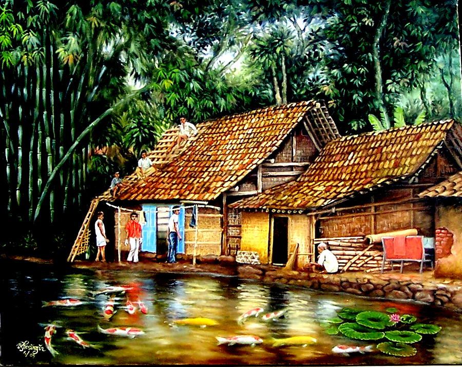 Village Painting - The Sun Does Not Forget A Village Just Because It Is Small  by Yuki Othsuka