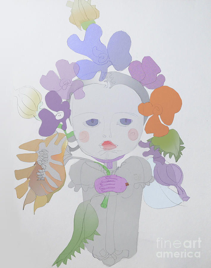 Love Drawing - The Sun Flower Child Fairy by Iordache Alice