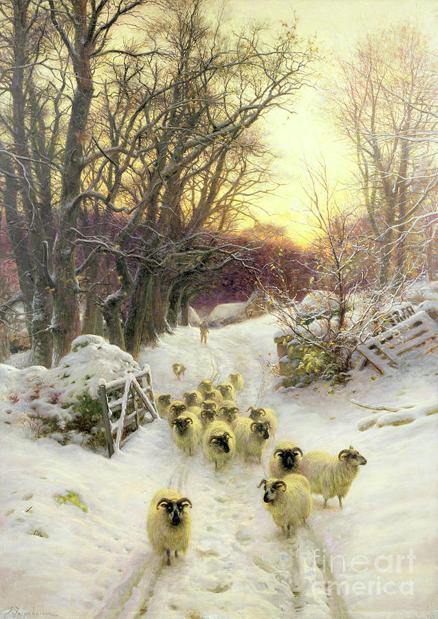 Sunset Painting - The Sun Had Closed The Winters Day  by Joseph Farquharson