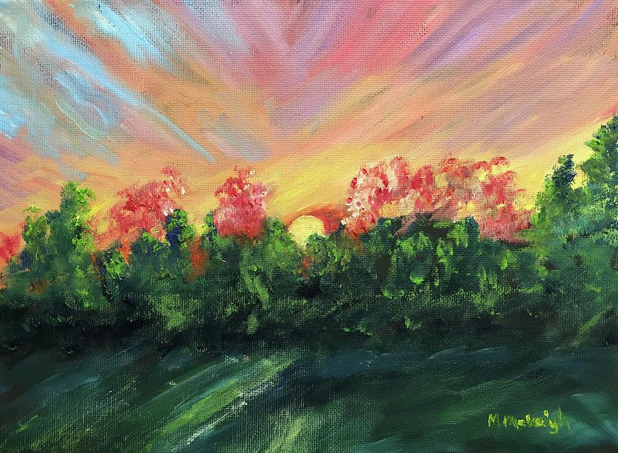 Sunset Painting - The Sun Is Setting by Marita McVeigh