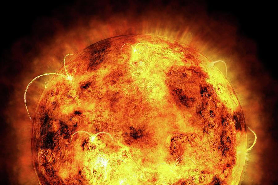 Sun Digital Art - The Sun by Michael Tompsett