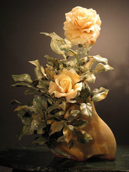 Rose Sculpture - The Sunset Rose by Susan Zalkind