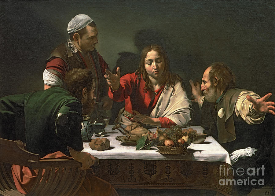 The Painting - The Supper At Emmaus by Caravaggio