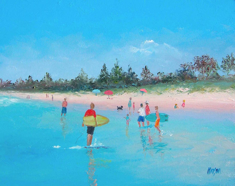 Surfing Painting - The Surfers by Jan Matson