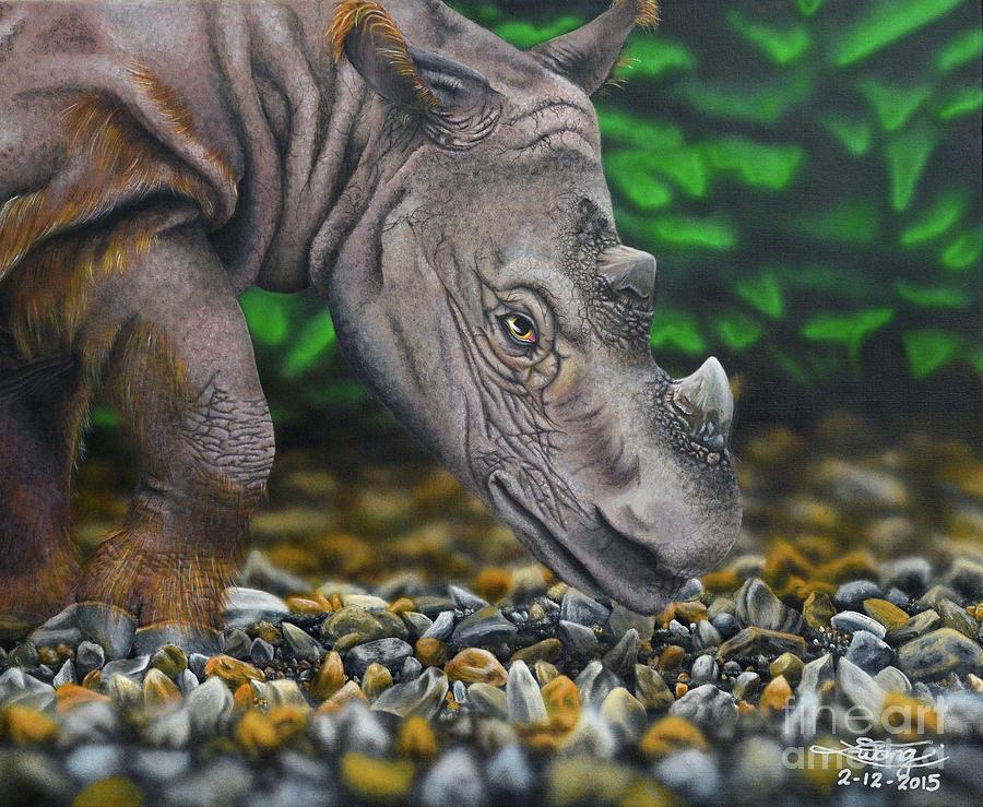 Sumatran Rhinoceros Painting - The Surviving Few by Elise Wong