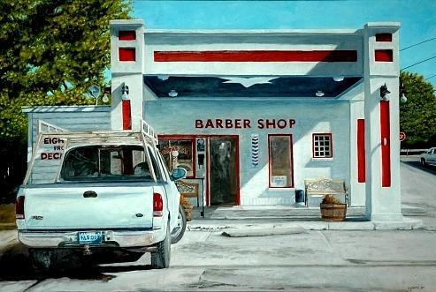 Barber Shop Painting - The Survivor by Robert Smith