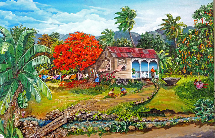 Tropical Scene Caribbean Scene Painting - The Sweet Life by Karin  Dawn Kelshall- Best
