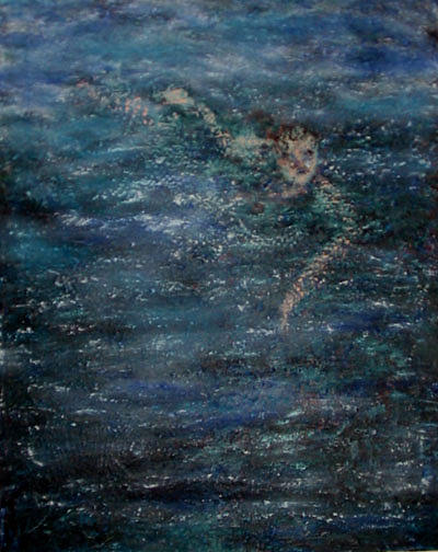 Water Painting - The Swimmer by Patricia Obletz