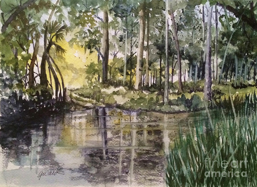 Water Painting - The Swimming Hole  by Glen Ward
