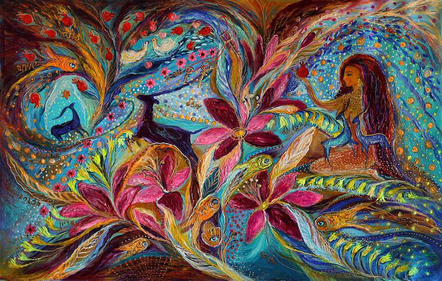 Hebrew Letters Painting - The Tales Of One Thousand And One Nights by Elena Kotliarker