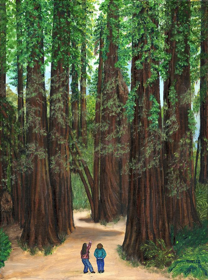Redwoods Painting - The Tall and Not to be Cut by Tanna Lee M Wells