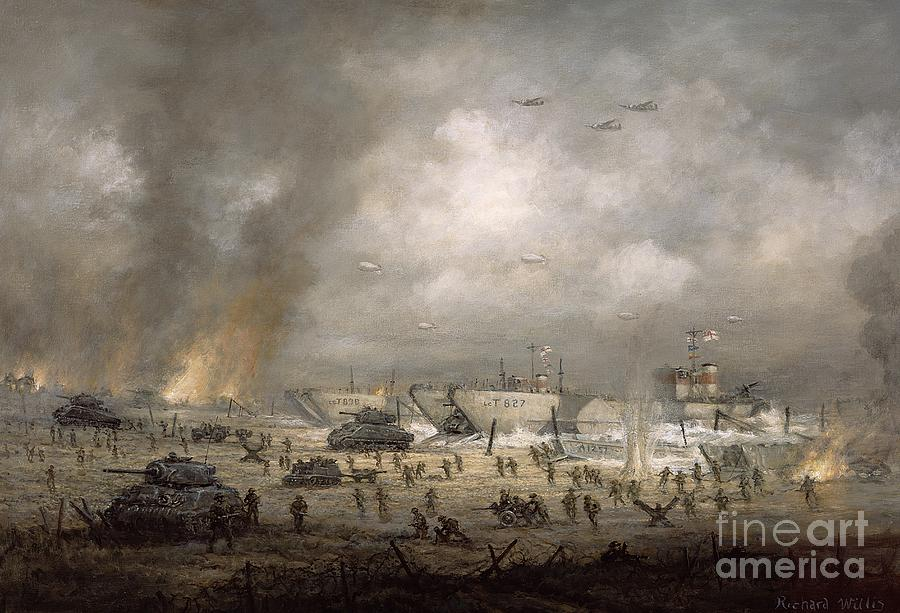 Cloud Painting - The Tanks Go In - Sword Beach  by Richard Willis