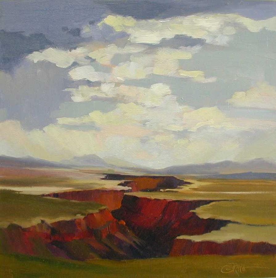 Landscape Painting - the Taos Gorge by R Raya