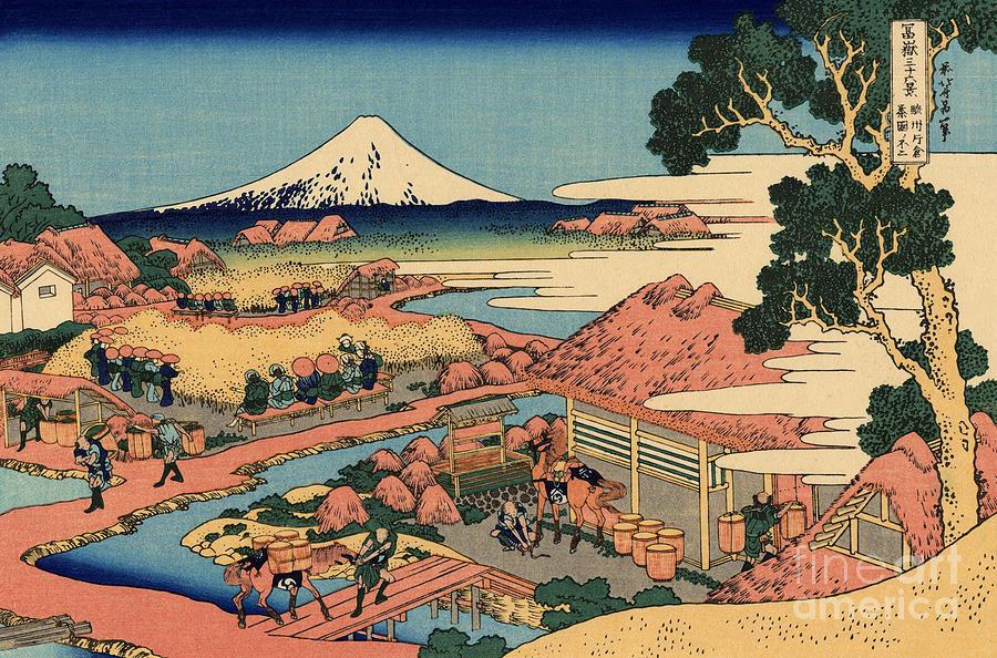 Hokusai Painting - The Tea Plantation Of Katakura In The Suruga Province by Hokusai