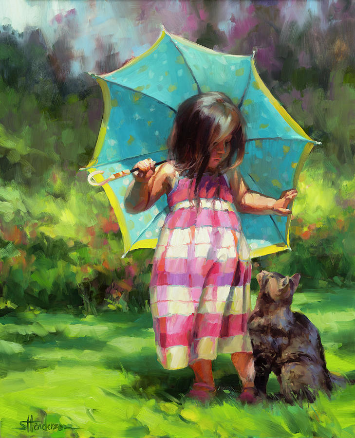 The Teal Umbrella Painting