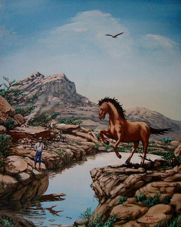 Horse Painting - The Tease by David  Larcom