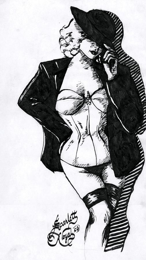 Dancer Drawing - The Tease by Scarlett Royal