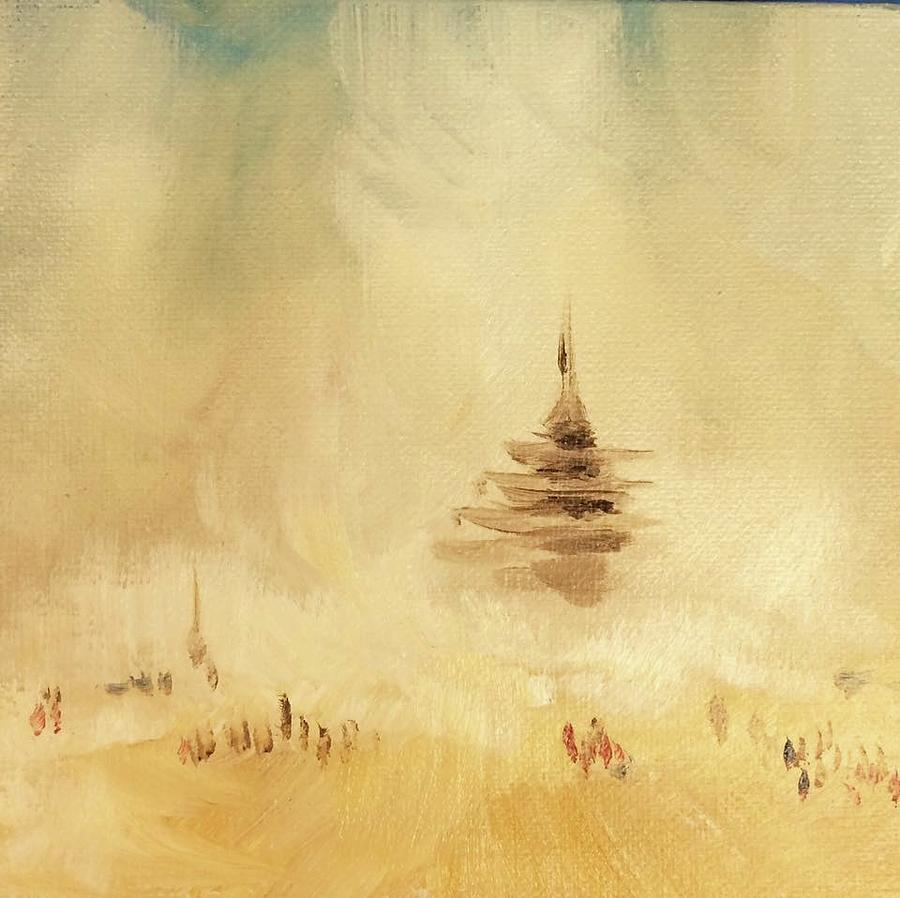 Burning Man Painting - The Temple 2016 by Masha Schultz