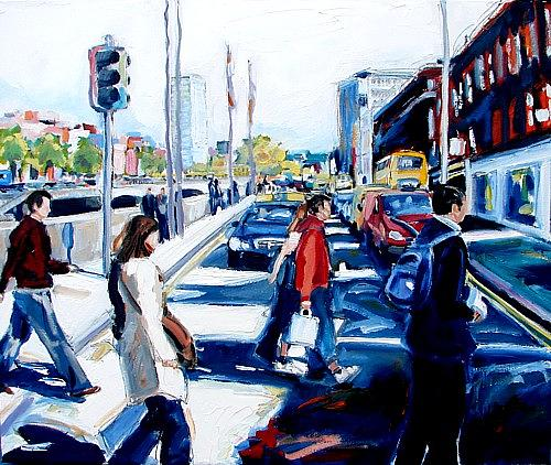Cityscape Painting - The Temporary Sanity Of The Pedestrian Crossing by Caoimhghin OCroidheain