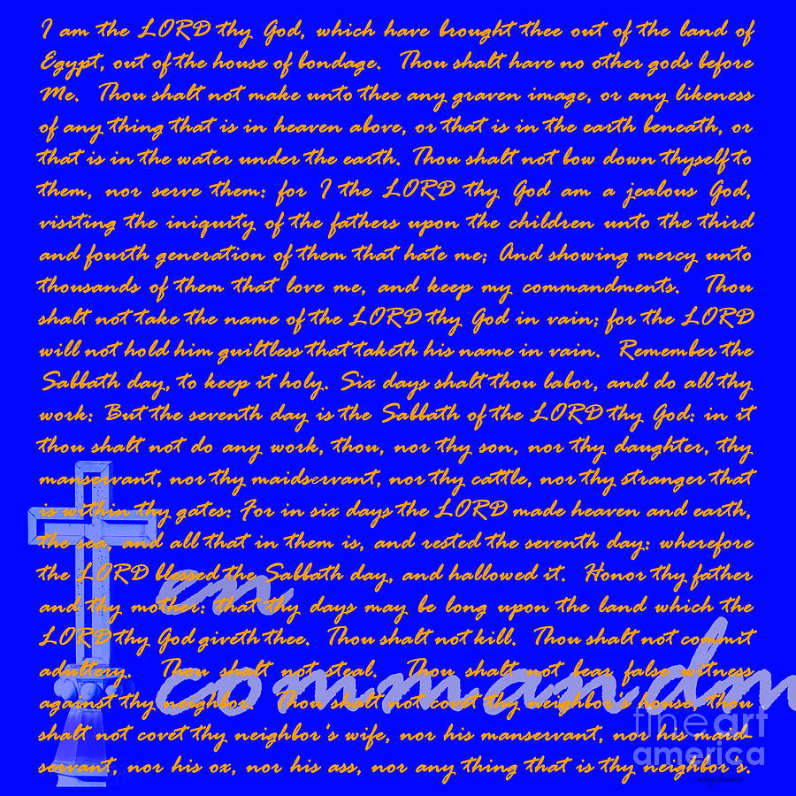 Cross Photograph - The Ten Commandments 20130213blue by Wingsdomain Art and Photography