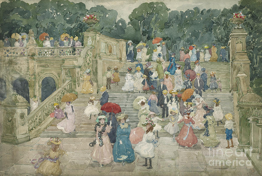 Central Park Painting - The Terrace Bridge, Central Park by Maurice Brazil Prendergast