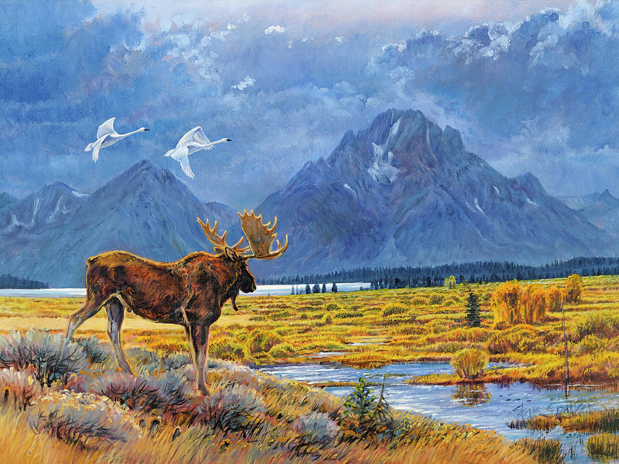 Moose Painting - The Teton Trio by Steve Spencer