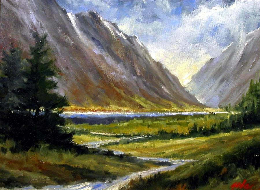 Mountains Painting - The Tetons 05 by Jim Gola