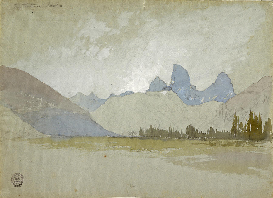 Thomas Moran Drawing - The Tetons, Idaho, 1879 by Thomas Moran