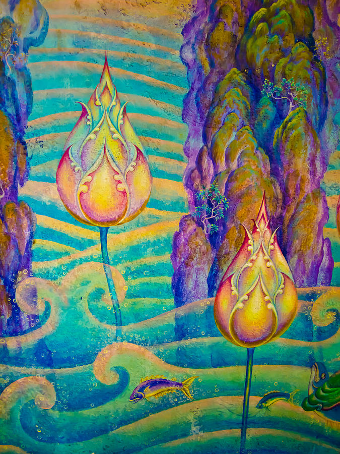 Asia Painting - The Thai Art Of Religion On Wall Of Temple. by Shattha Pilabut