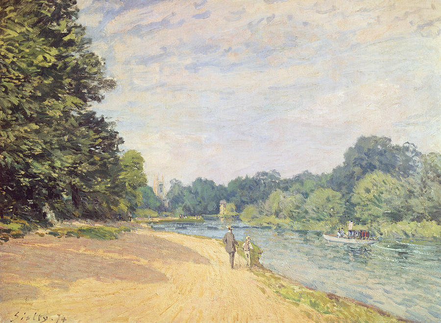River Painting - The Thames With Hampton Church by Alfred Sisley