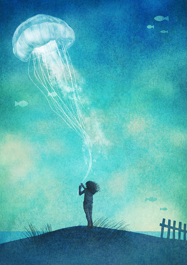 Jellyfish Drawing - The Thing About Jellyfish by Eric Fan