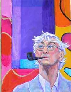 Man With Pipe Painting - The Thinker by Laura Forst