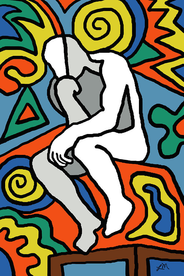 Abstract Digital Art - The Thinker Imagined by Linda Mears